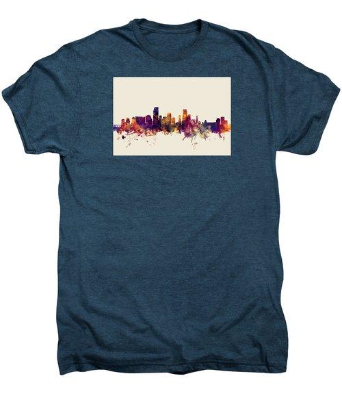 Miami Florida Skyline Men's Premium T-Shirt by Michael Tompsett