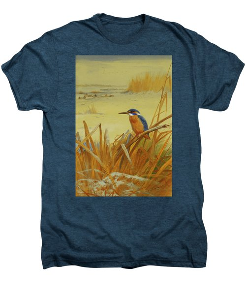 A Kingfisher Amongst Reeds In Winter Men's Premium T-Shirt