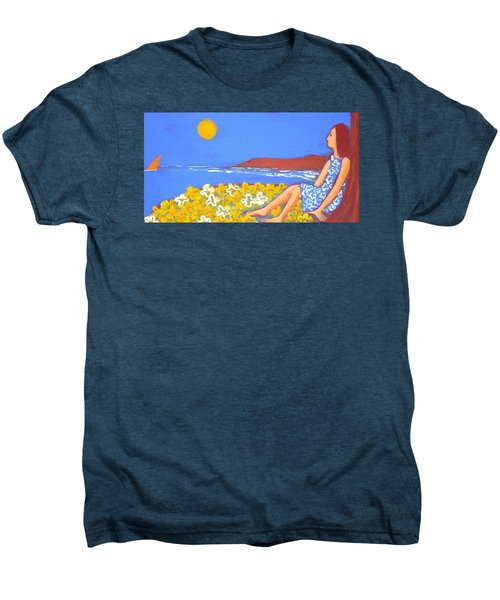 Men's Premium T-Shirt featuring the painting A Quiet Place by Winsome Gunning