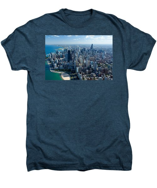 Aerial View Of A City, Lake Michigan Men's Premium T-Shirt