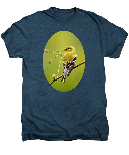 American Goldfinch In The Rain Men's Premium T-Shirt by Christina Rollo