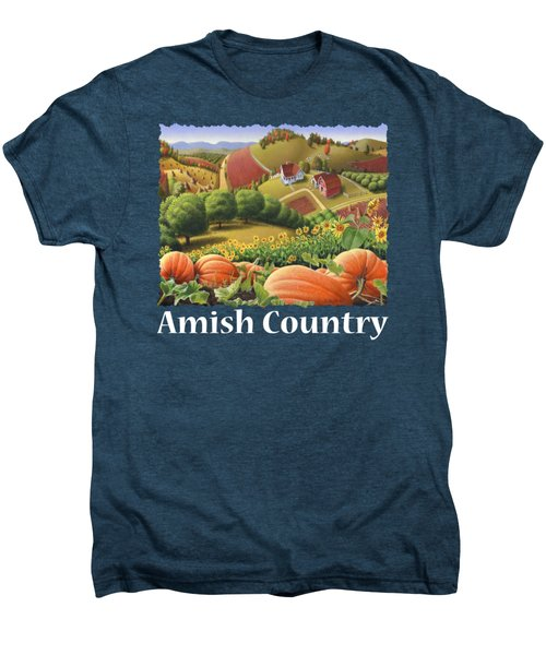 Amish Country T Shirt - Appalachian Pumpkin Patch Country Farm Landscape 2 Men's Premium T-Shirt by Walt Curlee