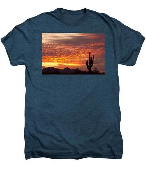 Arizona November Sunrise With Saguaro   Men's Premium T-Shirt