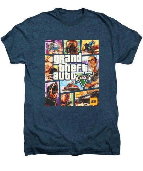 Gta V Box Art Cover Colored Drawing Men's Premium T-Shirt by Nikolai Jonasson