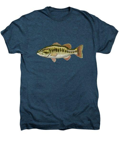 Largemouth Bass On Red Leather Men's Premium T-Shirt by Serge Averbukh