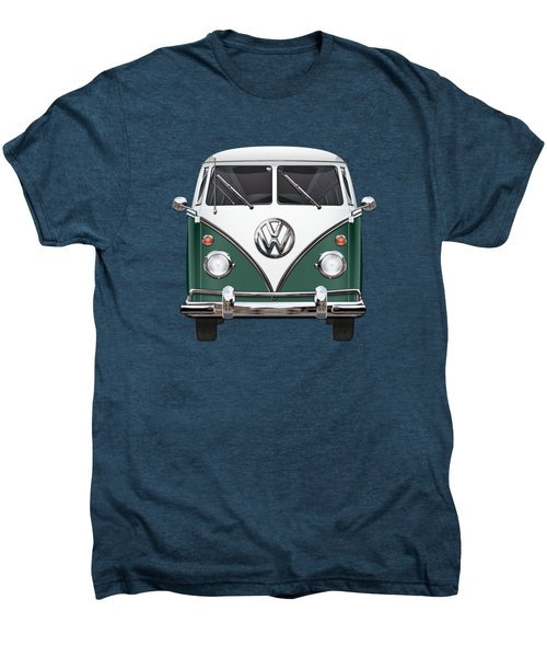 Volkswagen Type 2 - Green And White Volkswagen T 1 Samba Bus Over Red Canvas  Men's Premium T-Shirt