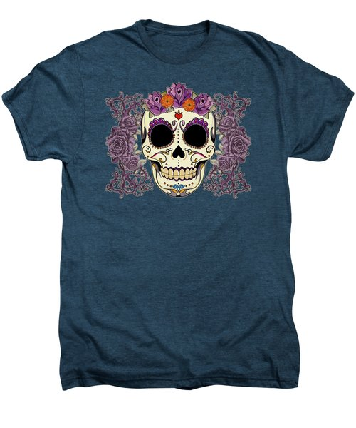Vintage Sugar Skull And Roses Men's Premium T-Shirt by Tammy Wetzel