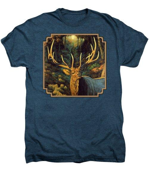 Elk Painting - Autumn Majesty Men's Premium T-Shirt by Crista Forest