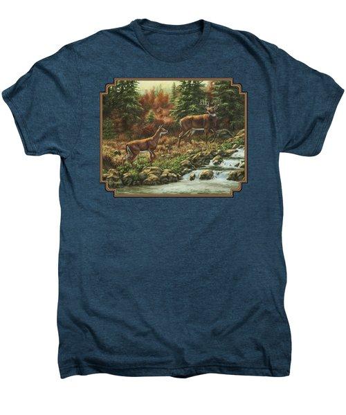 Whitetail Deer - Follow Me Men's Premium T-Shirt by Crista Forest