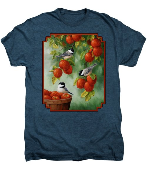 Bird Painting - Apple Harvest Chickadees Men's Premium T-Shirt by Crista Forest