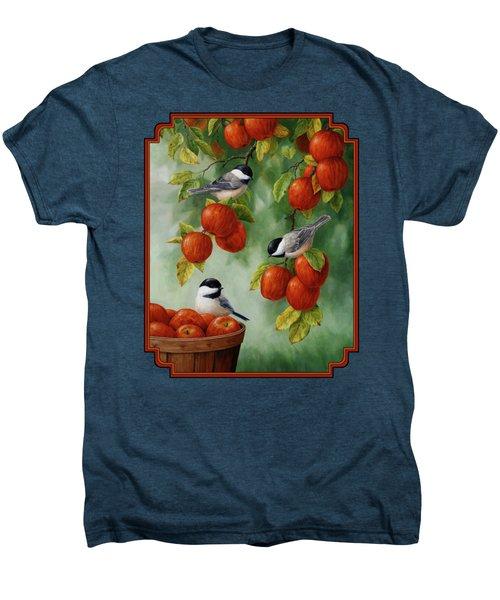 Bird Painting - Apple Harvest Chickadees Men's Premium T-Shirt