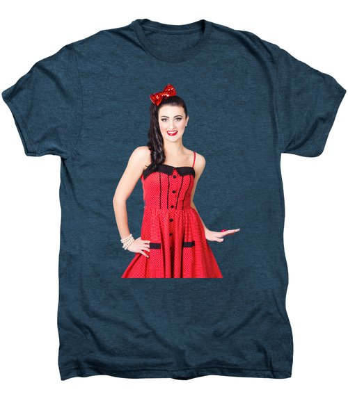 Men's Premium T-Shirt featuring the photograph Beautiful Pinup Girl With Pretty Smile by Jorgo Photography - Wall Art Gallery