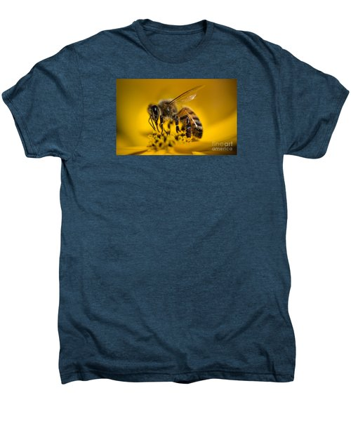 Bee Enjoys Collecting Pollen From Yellow Coreopsis Men's Premium T-Shirt