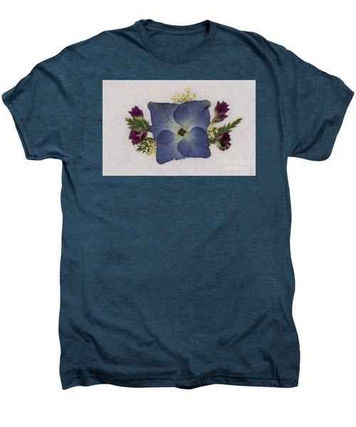 Blue Hydrangea Pressed Floral Design Men's Premium T-Shirt