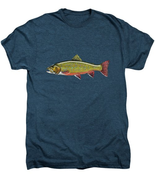 Brook Trout On Red Leather Men's Premium T-Shirt