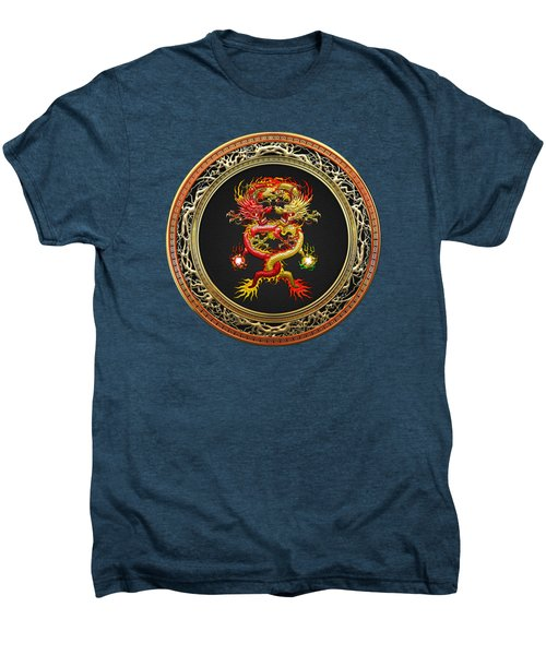 Brotherhood Of The Snake - The Red And The Yellow Dragons On Red Velvet Men's Premium T-Shirt by Serge Averbukh