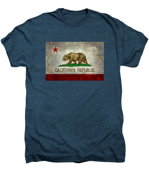 California Republic State Flag Retro Style Men's Premium T-Shirt by Bruce Stanfield