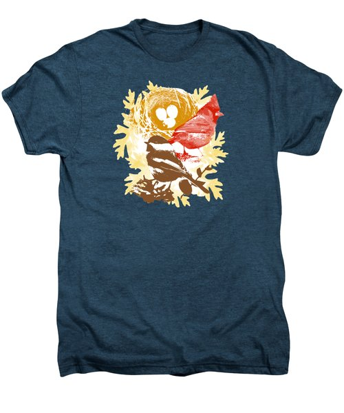Cardinal Chickadee Birds Nest With Eggs Men's Premium T-Shirt by Christina Rollo