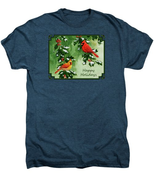 Cardinals Holiday Card - Version With Snow Men's Premium T-Shirt