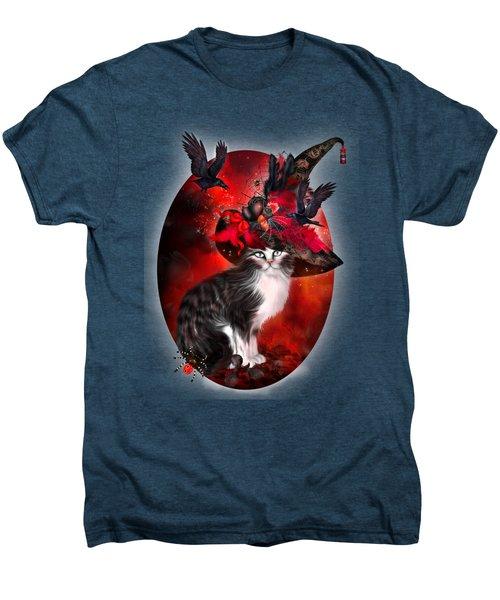 Cat In Fancy Witch Hat 1 Men's Premium T-Shirt by Carol Cavalaris