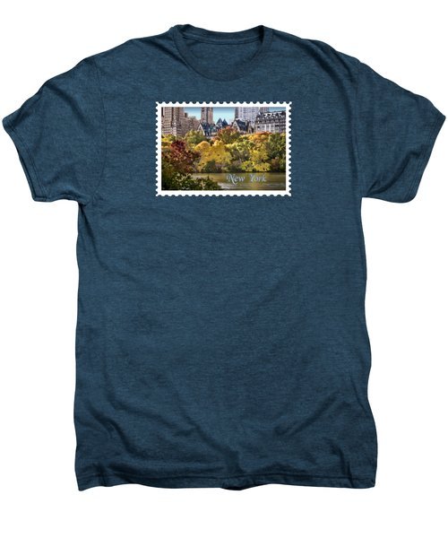 Central Park Lake In Fall Text New York Men's Premium T-Shirt