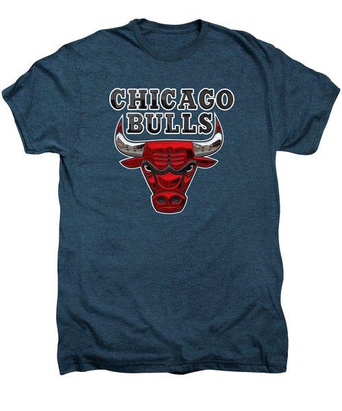 Chicago Bulls - 3 D Badge Over Flag Men's Premium T-Shirt