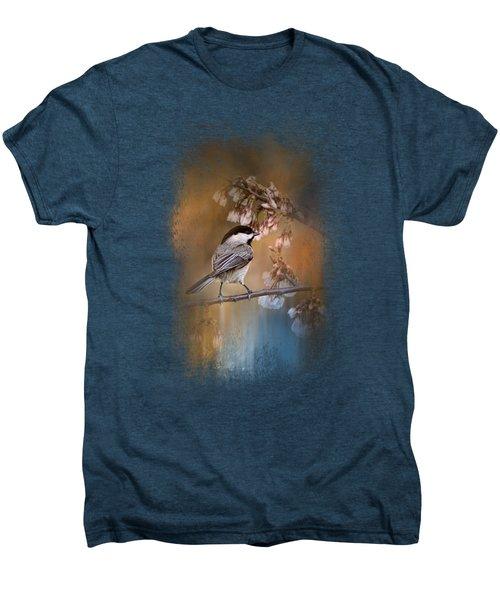 Chickadee In The Garden Men's Premium T-Shirt by Jai Johnson