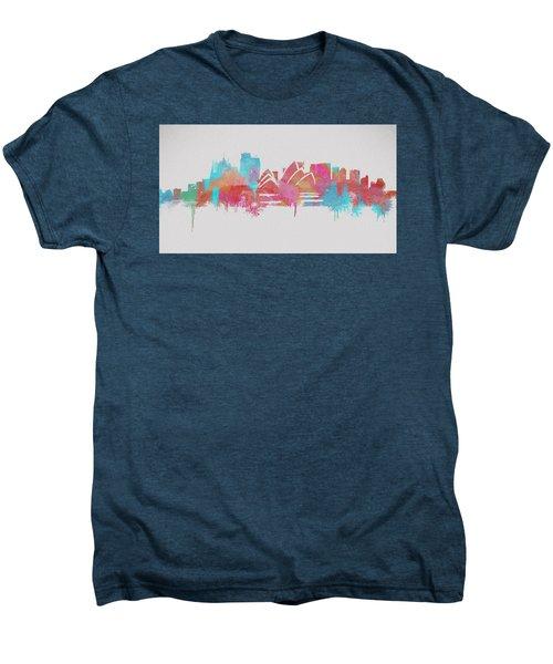Colorful Sydney Skyline Silhouette Men's Premium T-Shirt by Dan Sproul