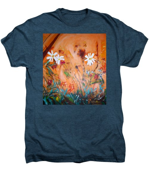 Men's Premium T-Shirt featuring the painting Daisies Along The Fence by Winsome Gunning