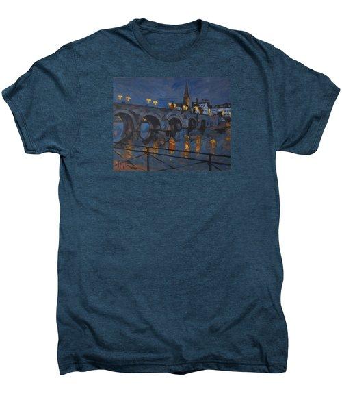 December Lights Old Bridge Maastricht Acryl Men's Premium T-Shirt by Nop Briex