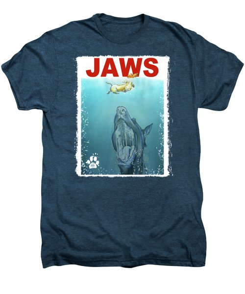 Dog-themed Jaws Caricature Art Print Men's Premium T-Shirt