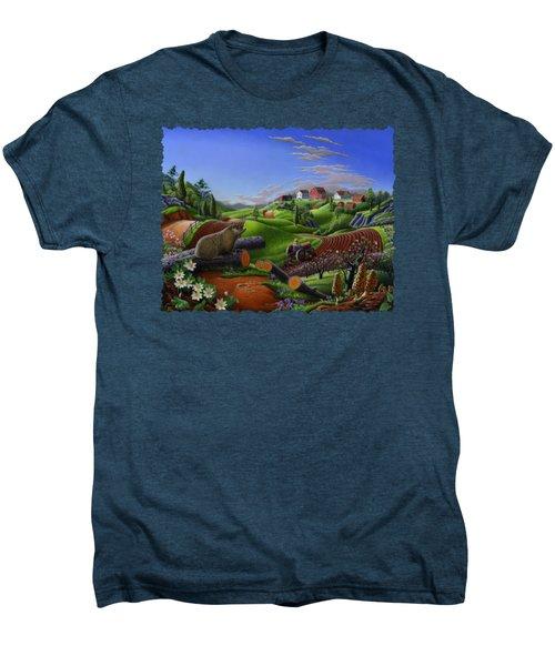 Farm Folk Art - Groundhog Spring Appalachia Landscape - Rural Country Americana - Woodchuck Men's Premium T-Shirt
