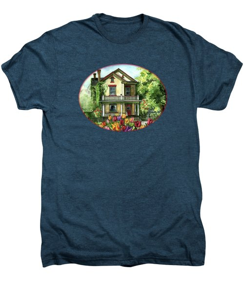 Farmhouse With Spring Tulips Men's Premium T-Shirt by Shelley Wallace Ylst