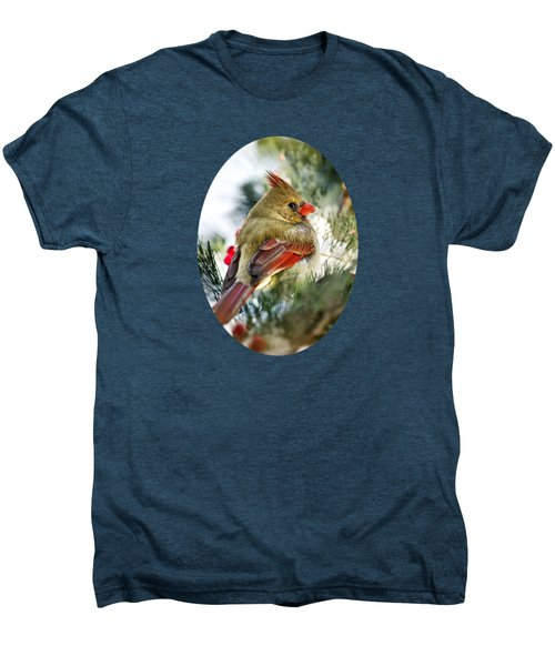 Female Northern Cardinal Men's Premium T-Shirt by Christina Rollo