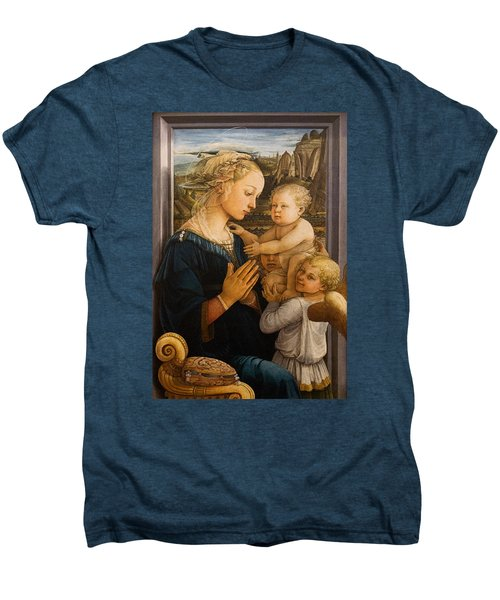 Florence - Madonna And Child With Angels- Filippo Lippi Men's Premium T-Shirt