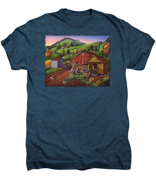 Folk Art Americana - Farmers Shucking Harvesting Corn Farm Landscape - Autumn Rural Country Harvest  Men's Premium T-Shirt