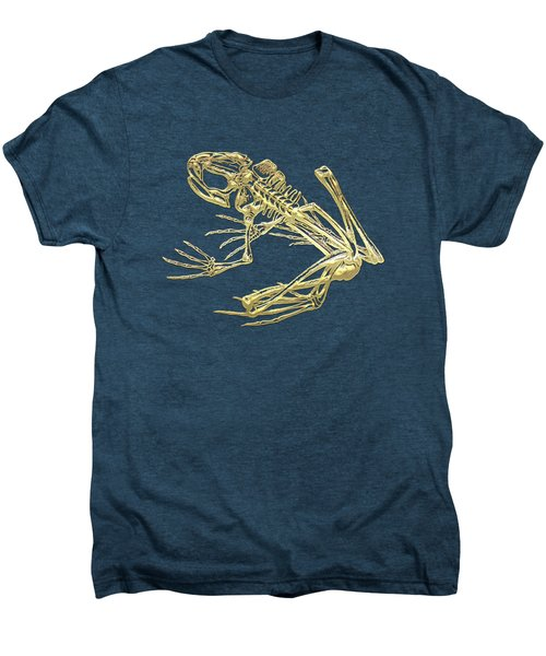 Frog Skeleton In Gold On Red  Men's Premium T-Shirt