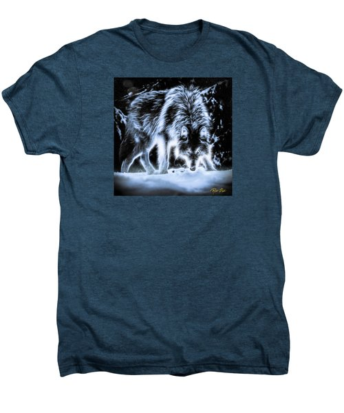 Men's Premium T-Shirt featuring the photograph Glowing Wolf In The Gloom by Rikk Flohr