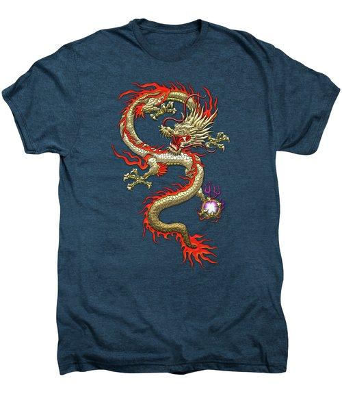 Golden Chinese Dragon Fucanglong On Red Silk Men's Premium T-Shirt