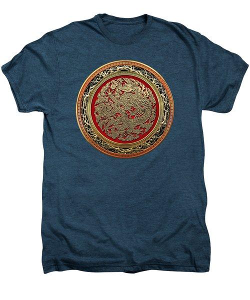 Golden Chinese Dragon On Red Velvet Men's Premium T-Shirt by Serge Averbukh