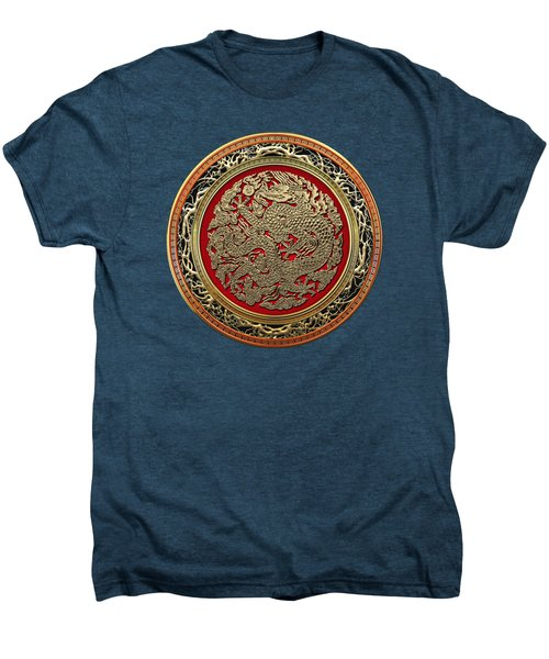 Golden Chinese Dragon On Red Velvet Men's Premium T-Shirt