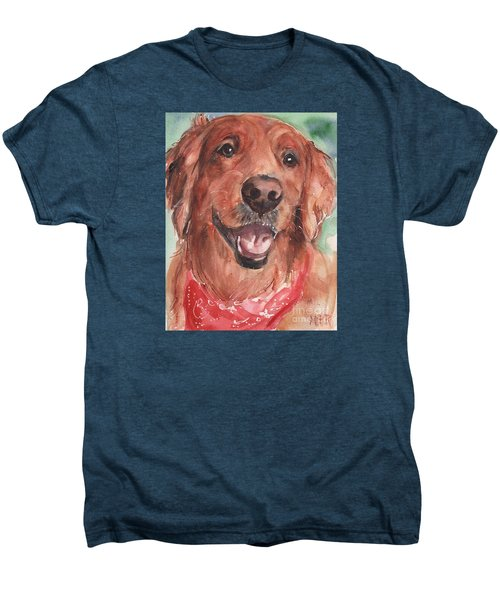 Golden Retriever Dog In Watercolori Men's Premium T-Shirt by Maria's Watercolor