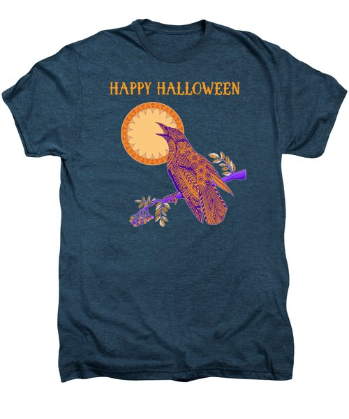 Halloween Crow And Moon Men's Premium T-Shirt by Tammy Wetzel