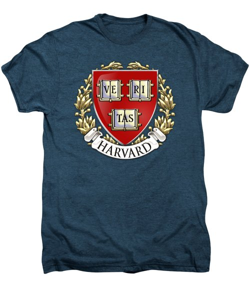 Harvard University Seal - Coat Of Arms Over Colours Men's Premium T-Shirt