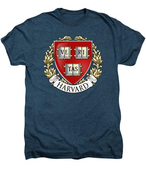 Harvard University Seal - Coat Of Arms Over Colours Men's Premium T-Shirt