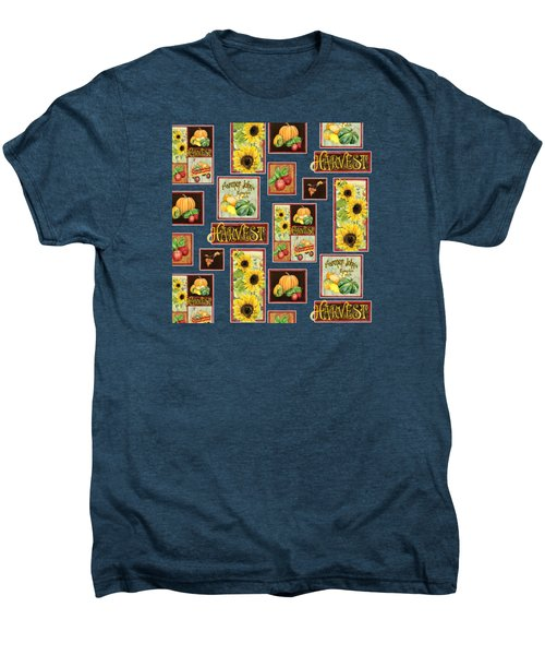 Harvest Market Pumpkins Sunflowers N Red Wagon Men's Premium T-Shirt by Audrey Jeanne Roberts