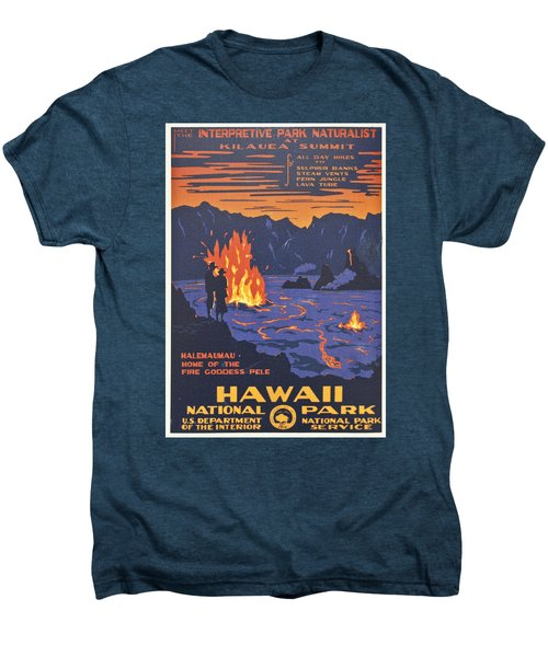 Hawaii Vintage Travel Poster Men's Premium T-Shirt by Georgia Fowler