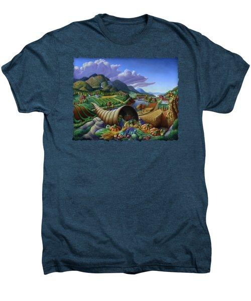 Horn Of Plenty - Cornucopia - Autumn Thanksgiving Harvest Landscape Oil Painting - Food Abundance Men's Premium T-Shirt