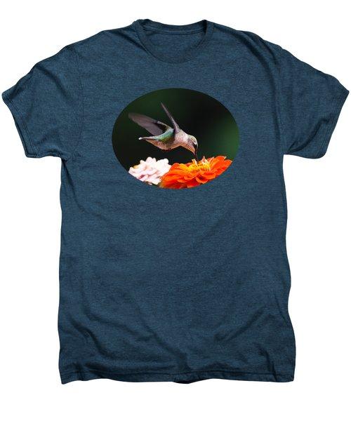 Hummingbird In Flight With Orange Zinnia Flower Men's Premium T-Shirt