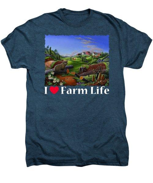 I Love Farm Life T Shirt - Spring Groundhog - Country Farm Landscape 2 Men's Premium T-Shirt